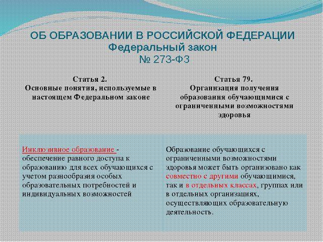 ОБ ОБРАЗОВАНИИ В РОССИЙСКОЙ ФЕДЕРАЦИИ Федеральный закон № 273-ФЗ Статья 2. Ос...