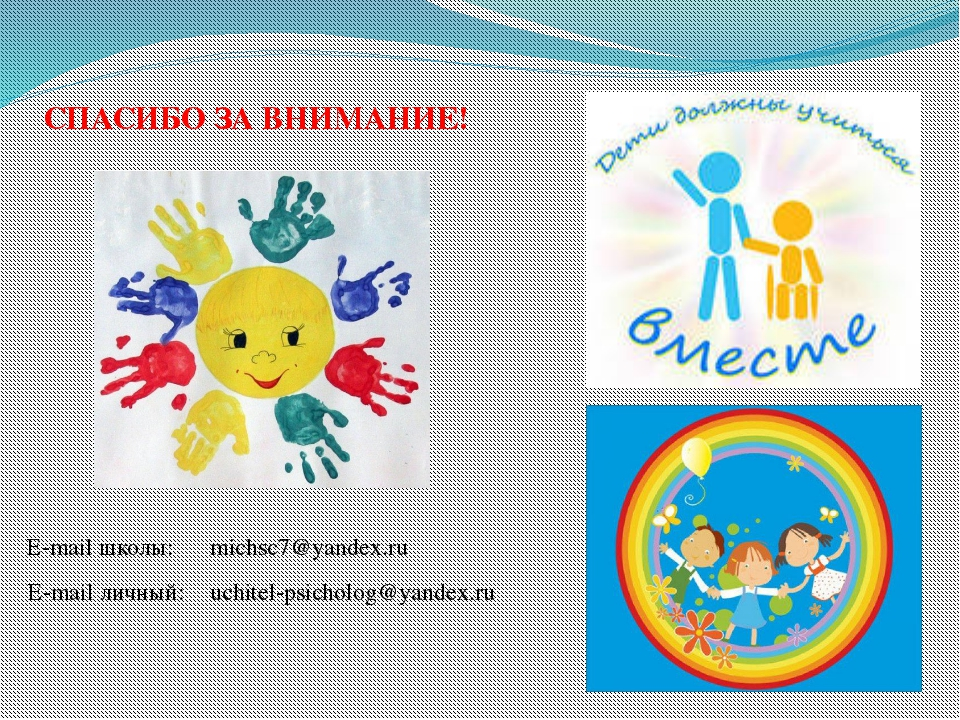 СПАСИБО ЗА ВНИМАНИЕ! michsc7@yandex.ru uchitel-psicholog@yandex.ru E-mail шко...