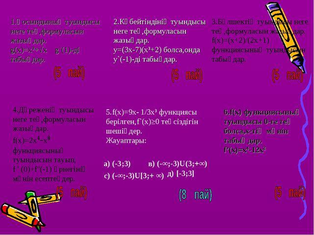 1.Қосындының туындысы неге тең,формуласын жазыңдар. g(x)=x³+√x g`(1)-ді табың...