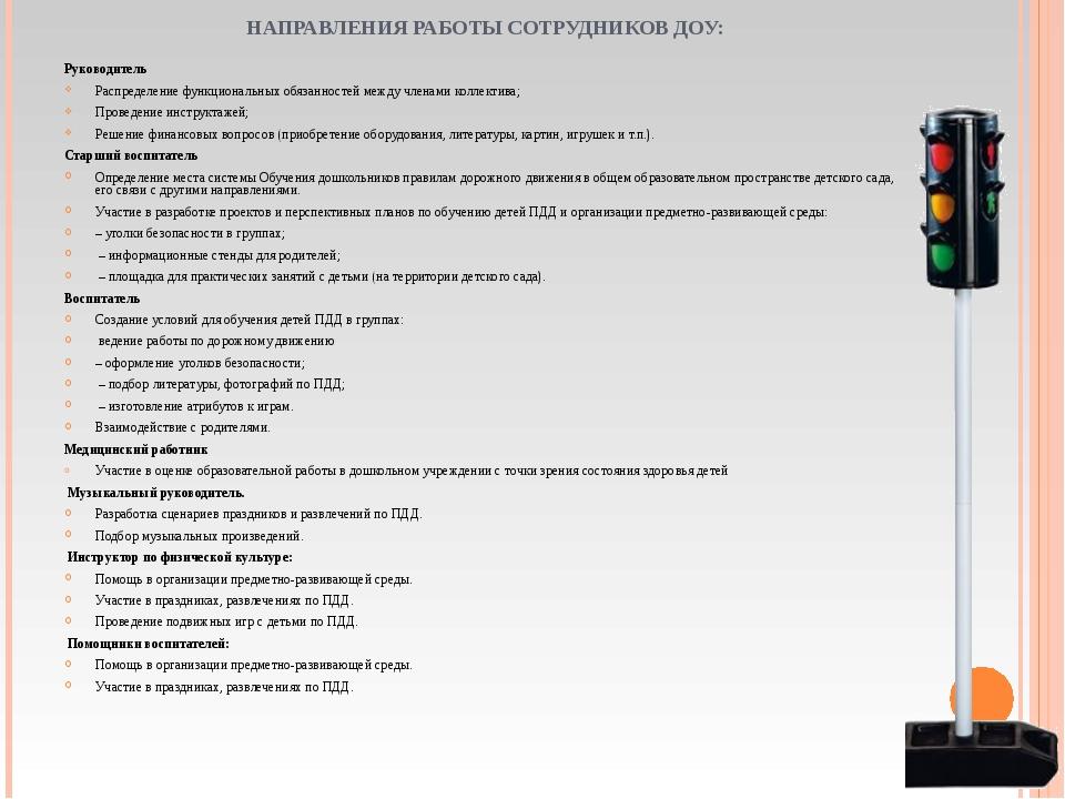 НАПРАВЛЕНИЯ РАБОТЫ СОТРУДНИКОВ ДОУ: Руководитель Распределение функциональных...