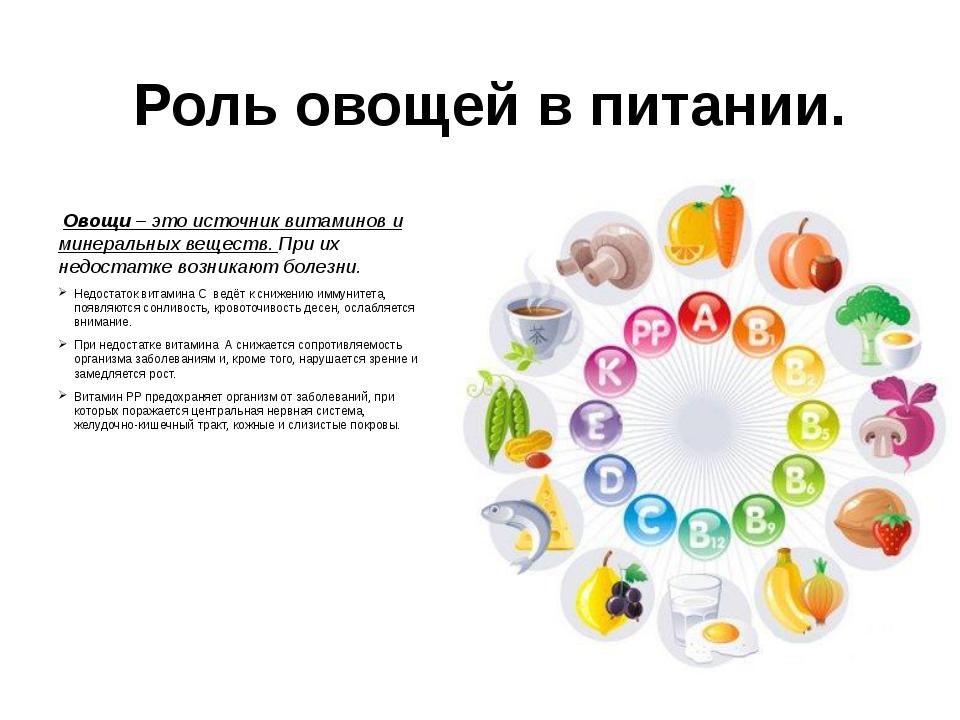 Роль овощей в питании. Овощи – это источник витаминов и минеральных веществ....