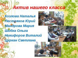 Актив нашего класса Козлова Наталья Пестряков Юрий Мандрова Мария Шибка Ольга