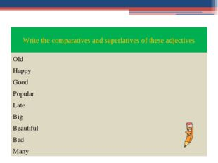 Write the comparatives and superlatives of these adjectives Old Happy Good Po