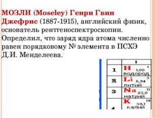 МОЗЛИ (Moseley) Генри Гвин Джефрис (1887-1915), английский физик, основатель