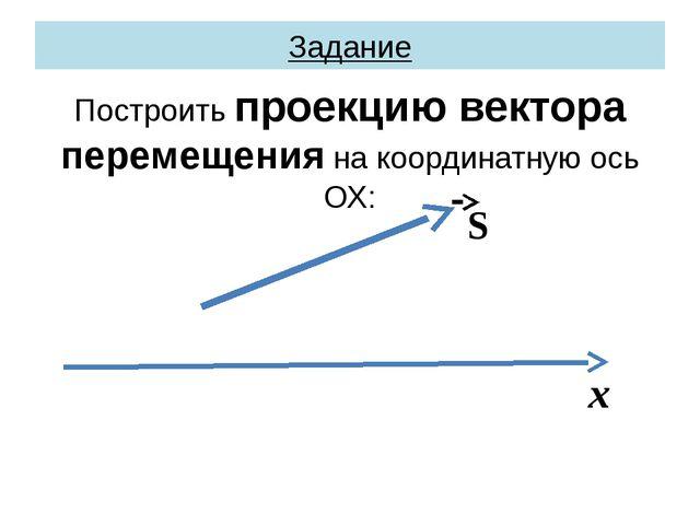 Задание Построить проекцию вектора перемещения на координатную ось ОХ: S х