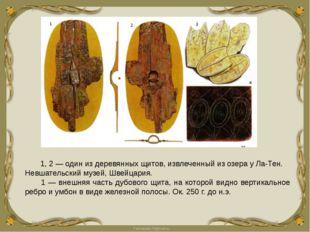 1, 2 — один из деревянных щитов, извлеченный из озера у Ла-Тен. Невшательски