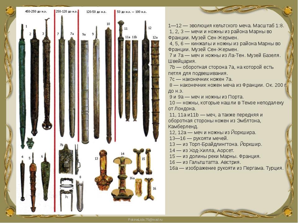 1—12 — эволюция кельтского меча. Масштаб 1:8. 1, 2, 3 — мечи и ножны из район...