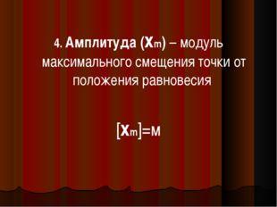 4. Амплитуда (xm) – модуль максимального смещения точки от положения равновес