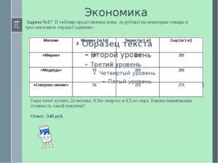 Экономика Задача №17 В таблице представлены цены (в рублях) на некоторые това