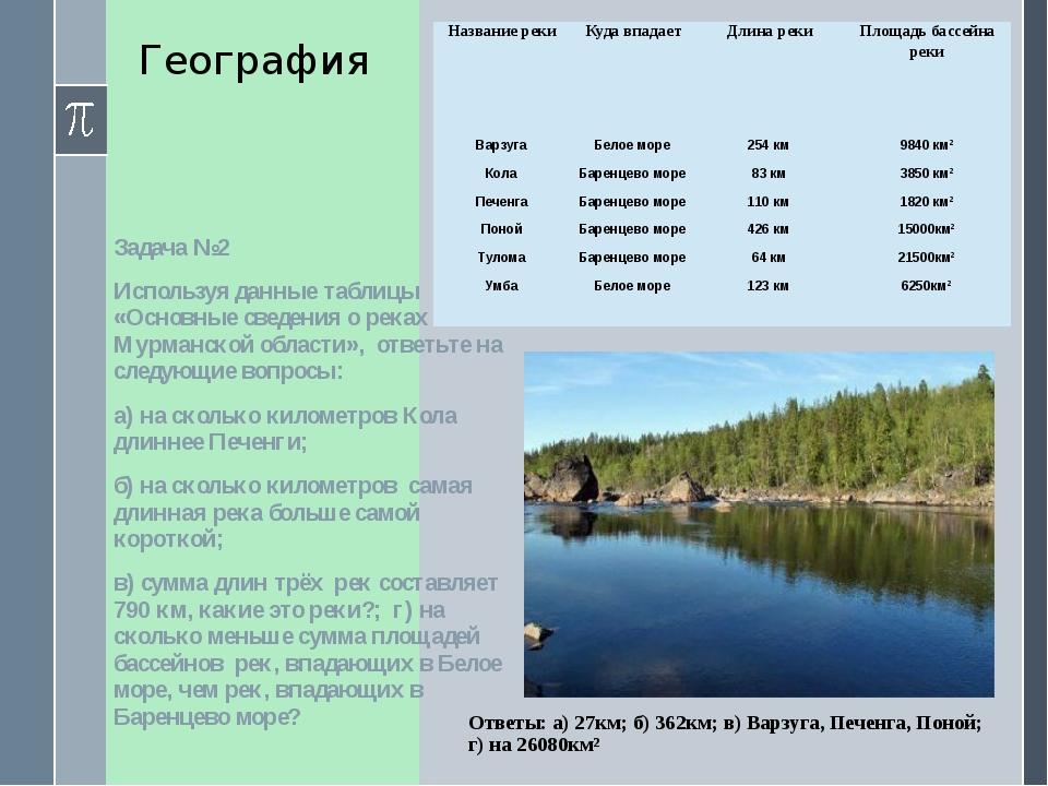 География Задача №2 Используя данные таблицы «Основные сведения о реках Мурма...