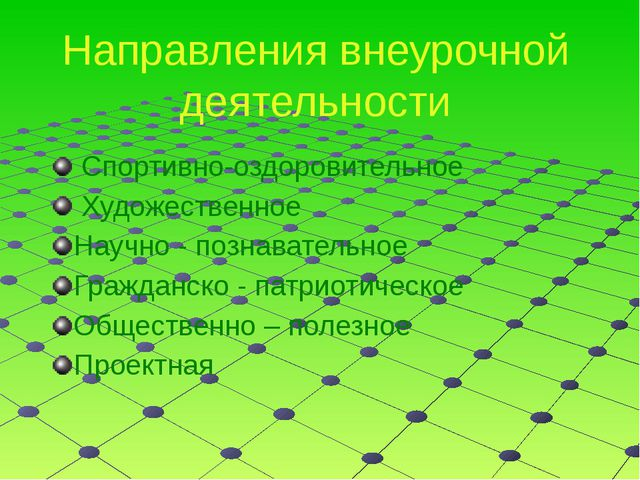 Направления внеурочной деятельности  Спортивно-оздоровительное  Художествен...