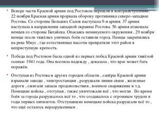 Вскоре части Красной армии под Ростовом перешли в контрнаступление. 22 ноября