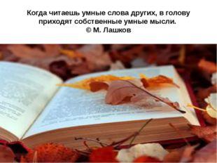 Когда читаешь умные слова других, в голову приходят собственные умные мысли.