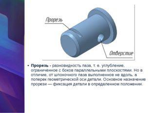 Прорезь -разновидность паза, т. е. углубление, ограниченное с боков параллел