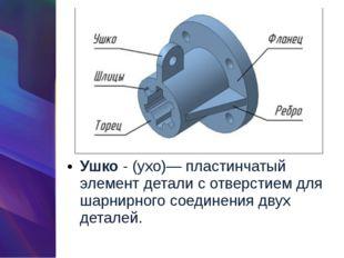 Ушко- (ухо)— пластинчатый элемент детали с отверстием для шарнирного соедине