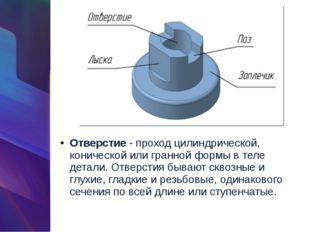 Отверстие- проход цилиндрической, конической или гранной формы в теле детали
