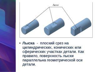 Лыска-плоский срез на цилиндрических, конических или сферических участках