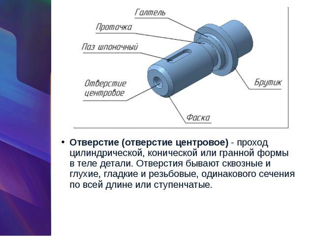 Отверстие (отверстие центровое)- проход цилиндрической, конической или гранн...