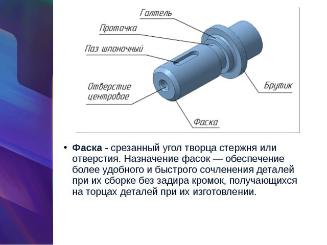 Фаска -срезанный угол творца стержня или отверстия. Назначение фасок — обесп...