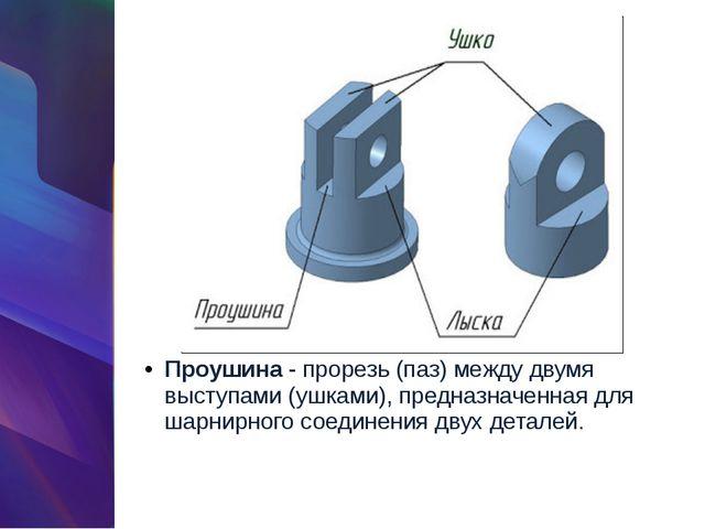 Проушина- прорезь (паз) между двумя выступами (ушками), предназначенная для...