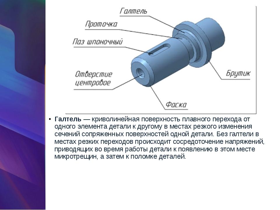 Галтель— криволинейная поверхность плавного перехода от одного элемента дета...