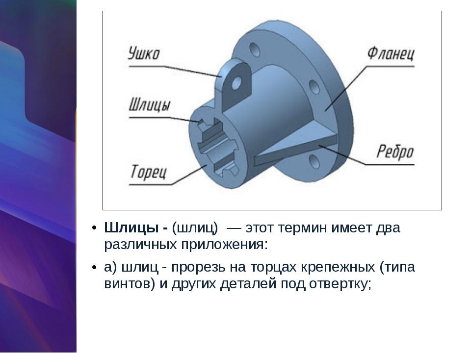 Шлицы -(шлиц) — этот термин имеет два различных приложения: а) шлиц - прорез...