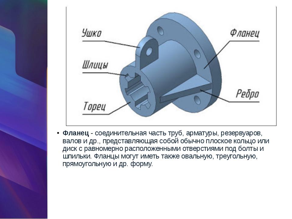 Фланец- соединительная часть труб, арматуры, резервуаров, валов и др., предс...