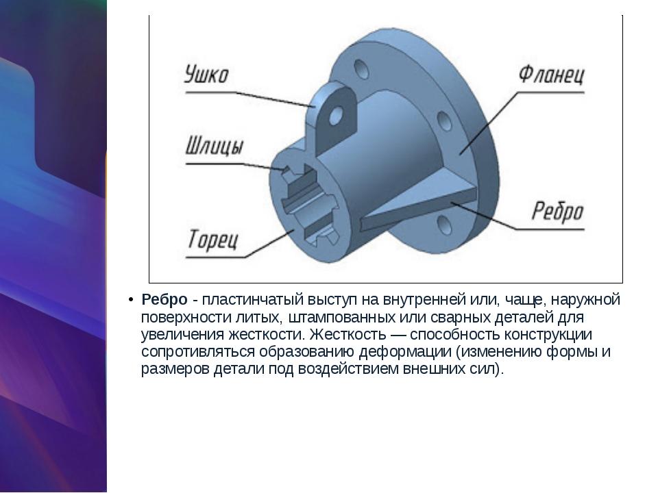 Ребро- пластинчатый выступ на внутренней или, чаще, наружной поверхности лит...