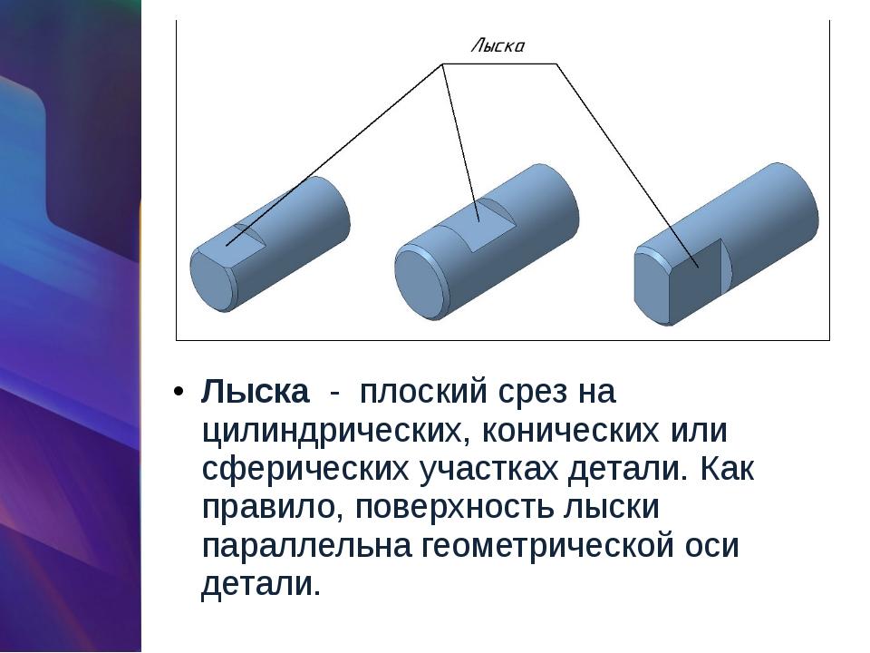 Лыска-плоский срез на цилиндрических, конических или сферических участках...