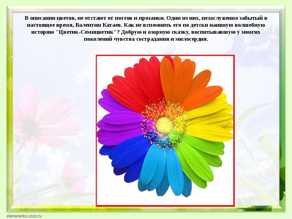 В описании цветов, не отстают от поэтов и прозаики. Один из них, незаслуженно...