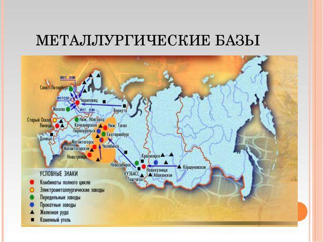 Где в контурных картах по географии за 9 класс черная и цветная металлургия