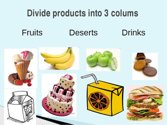 Divide products into 3 colums Fruits Deserts Drinks