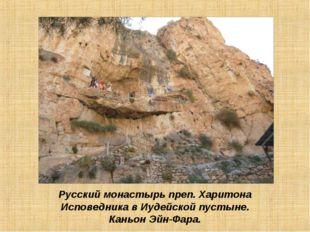 Русский монастырь преп. Харитона Исповедника в Иудейской пустыне. Каньон Эйн-