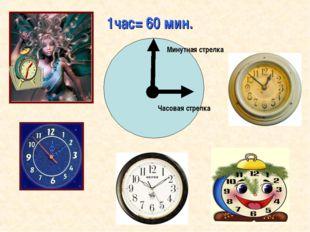 Минутная стрелка Часовая стрелка 1час= 60 мин.