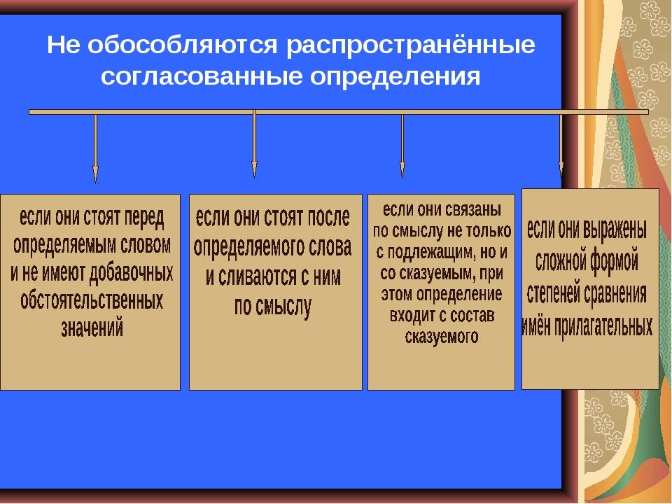 Не обособляются распространённые согласованные определения