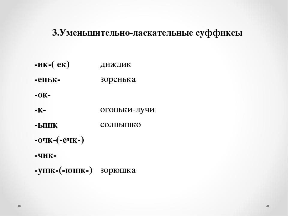 3.Уменьшительно-ласкательные суффиксы  -ик-( ек)диждик -еньк-зоренька -о...