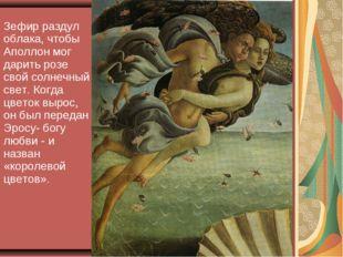Зефир раздул облака, чтобы Аполлон мог дарить розе свой солнечный свет. Когда