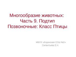 Многообразие животных: Часть 9. Подтип Позвоночные: Класс Птицы МБОУ «Хоринск