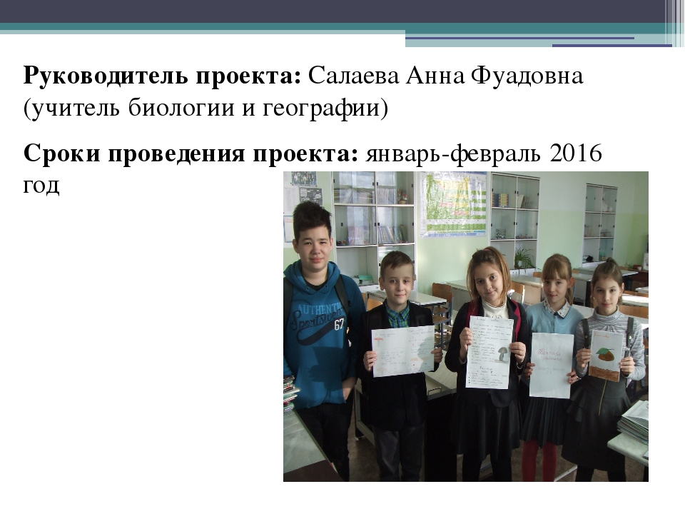 Руководитель проекта: Салаева Анна Фуадовна (учитель биологии и географии) Ср...