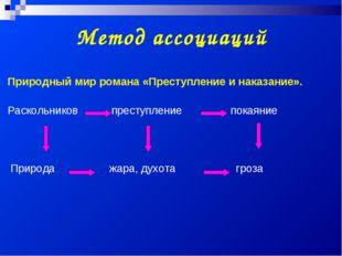 Метод ассоциаций Природный мир романа «Преступление и наказание». Раскольнико