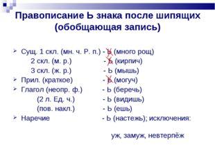 Правописание Ь знака после шипящих (обобщающая запись) Сущ. 1 скл. (мн. ч. Р.