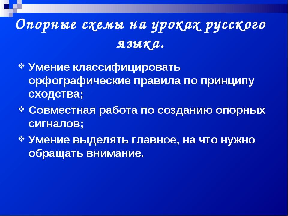 Опорные схемы на уроках русского языка. Умение классифицировать орфографическ...