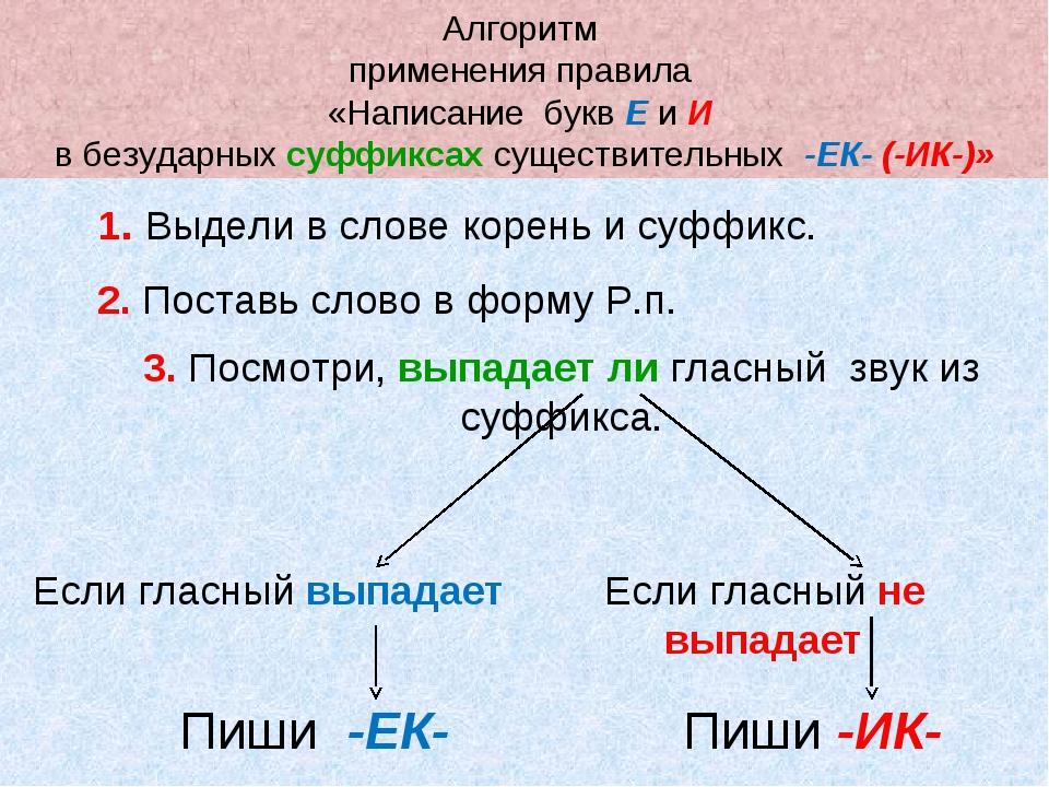 Алгоритм применения правила «Написание букв Е и И в безударных суффиксах суще...