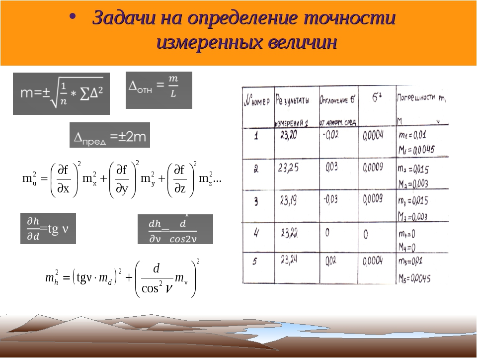 Задачи на определение точности измеренных величин