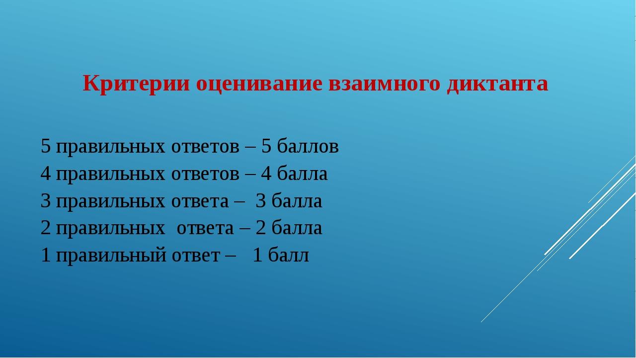 Критерии оценивание взаимного диктанта 5 правильных ответов – 5 баллов 4 пра...