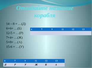 Отгадайте название корабля 14 – 8 = …(Д) 6+6= …(Б) 12-5 = …(Р) 7+4= …(Ж) 5+8=