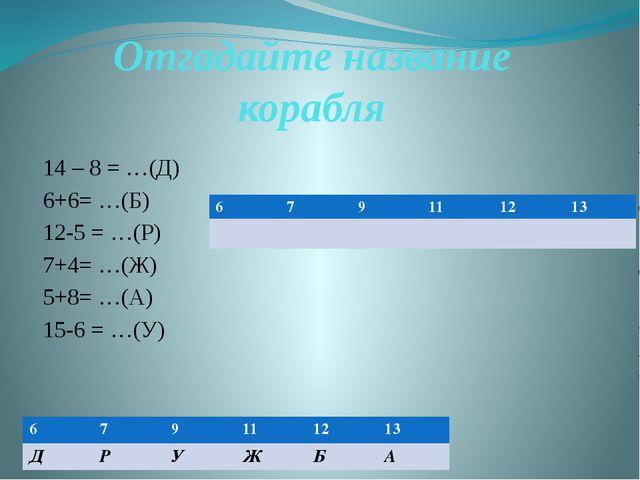 Отгадайте название корабля 14 – 8 = …(Д) 6+6= …(Б) 12-5 = …(Р) 7+4= …(Ж) 5+8=...