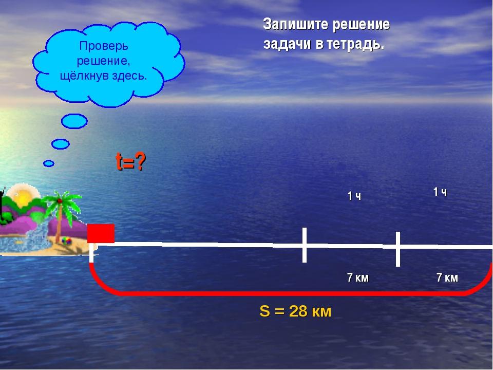 S = 28 км 7 км 1 ч 7 км 1 ч t=? V=7 км/ч Запишите решение задачи в тетрадь. П...