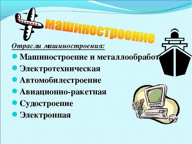 Отрасли машиностроения: Машиностроение и металлообработка Электротехническая...