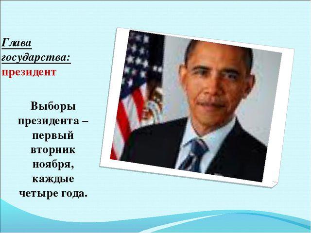 Глава государства: президент Выборы президента – первый вторник ноября, кажды...